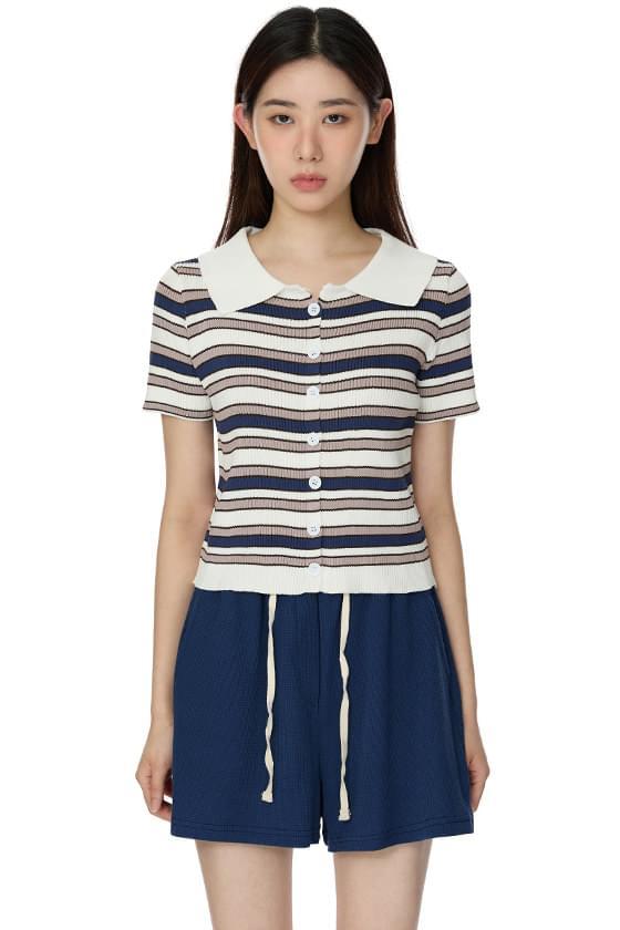 Striped Button Knitwear Polo