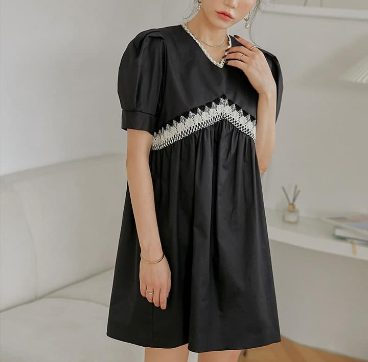 Crochet Lace Trim Mini Dress