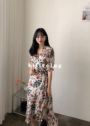 Belaying V-Neck Flower Wrap Long Dress