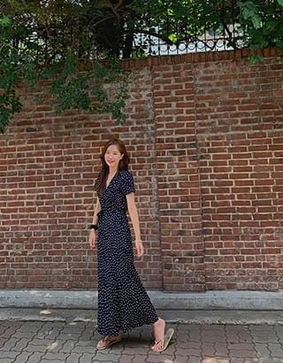 Monica short sleeve dot wrap Dress