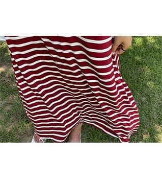 Striped Rayon Long Dress #38030