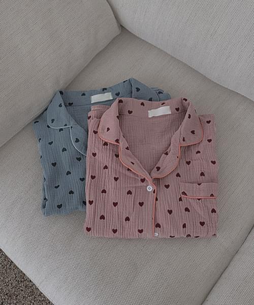 I'm Loving Heart Boxy Shirt Wide Shorts Pants Pajama Two Piece Set