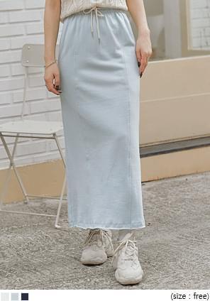 Split Back Hem Long Skirt