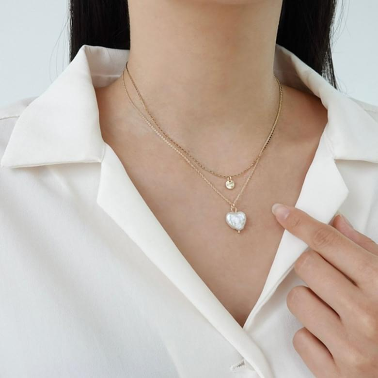 Bian heart two-line necklace set