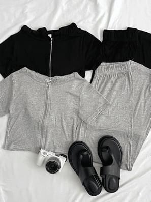 Ribbed hooded zip-up + pants set