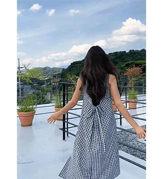 Check Back Banding Split Dress #38029