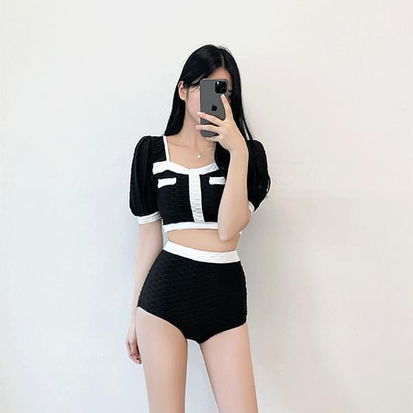 Millie color matching high-waist bikini swimsuit