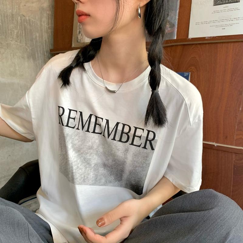 tt5360 feather print slit short sleeve T-shirt