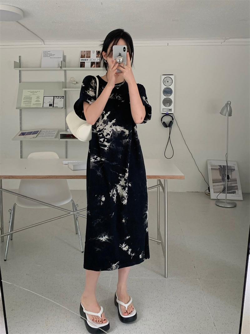 op5304 Richen tie-dye short sleeve long Dress