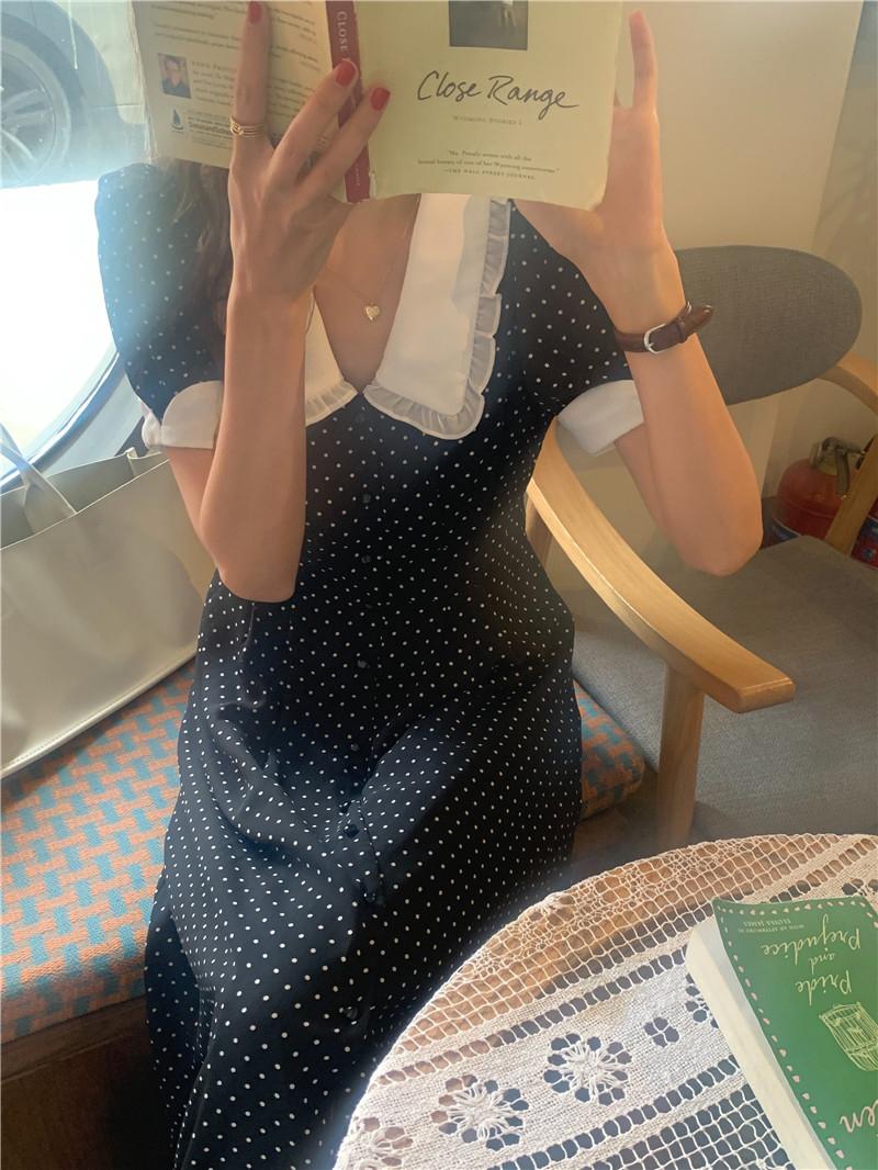 op5503 epi dot big collar Dress