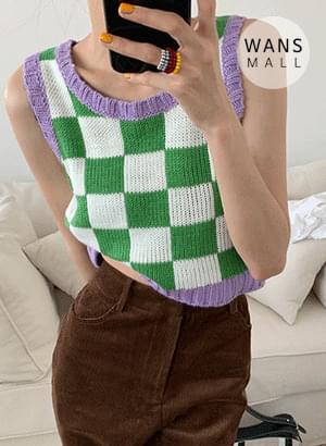 ns5436 Tudi Checkerboard Knitwear Vest