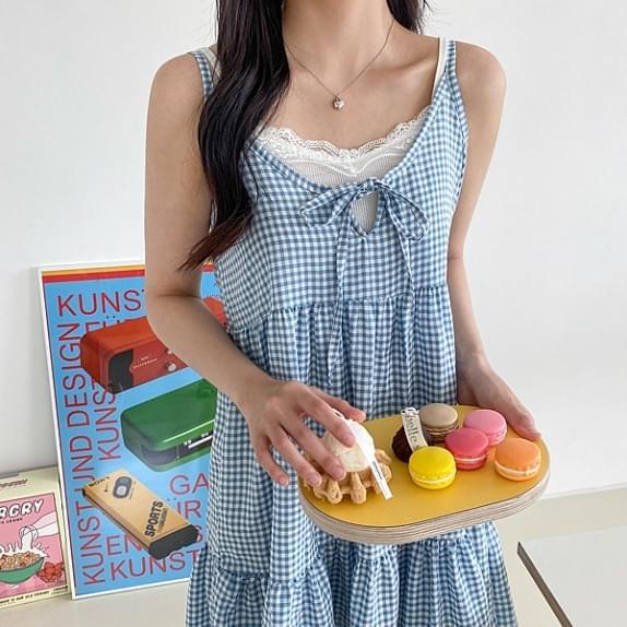 Babydoll String OPS High Bang Check Sleeveless Dress:D