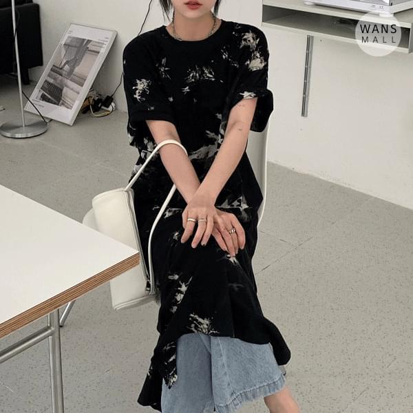 op5304 Richen tie-dye short sleeve long Dress 長洋裝
