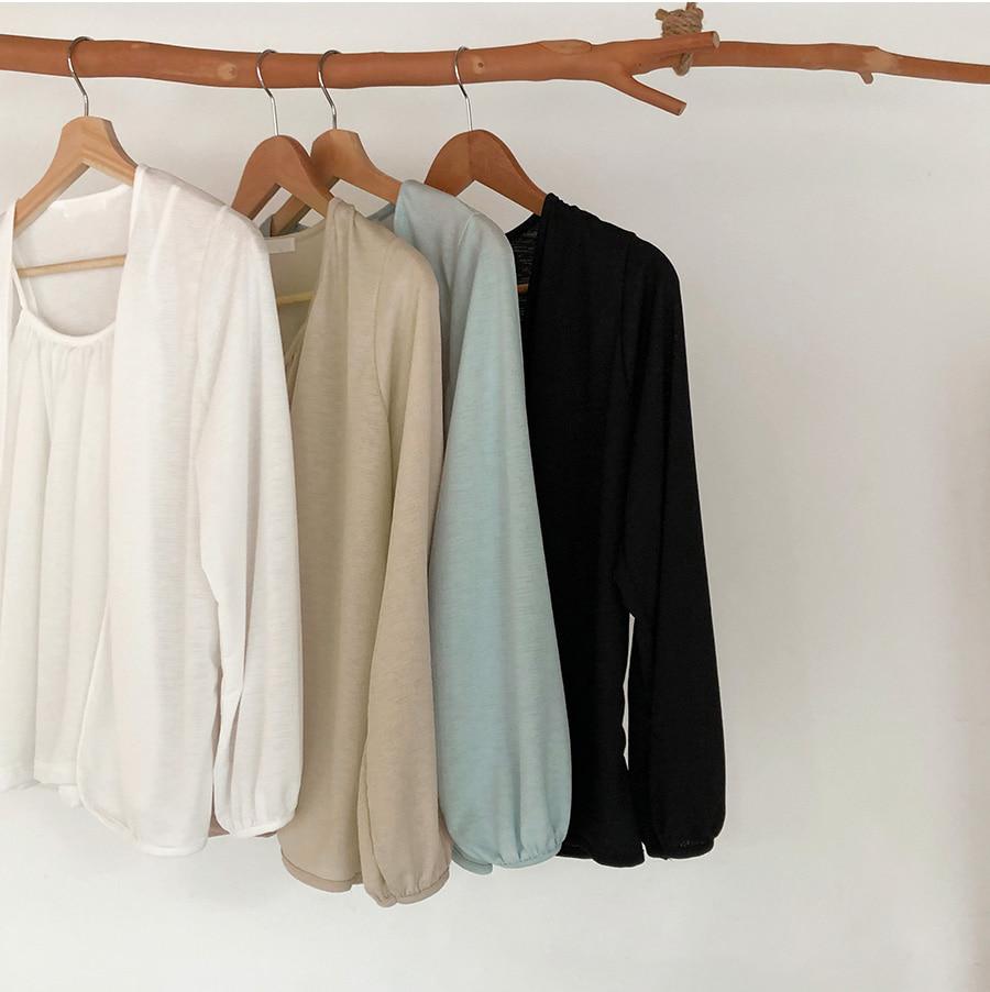 Front Shirring Sleeveless Bolero Cardigan Set