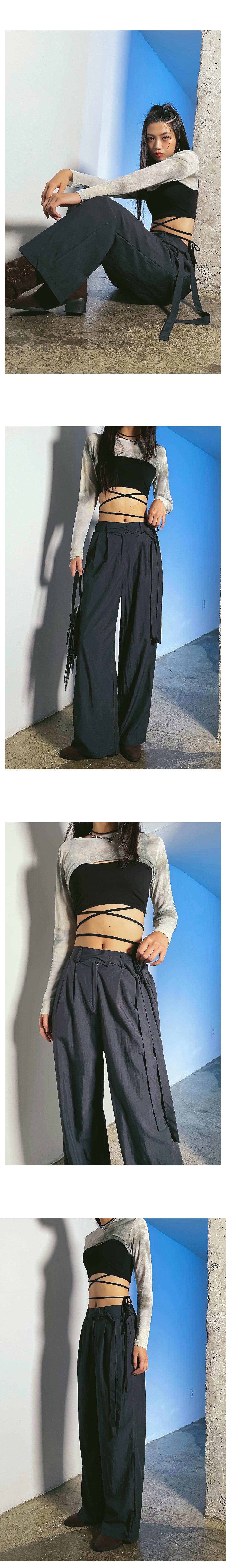 Belt O-View Wide Pants