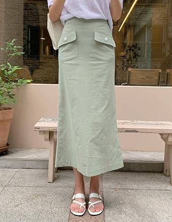 Frony*Backbanding Linen Long Skirt