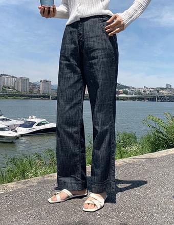 Tall Women's Pants vol.342* Long Wide Denim Pants with Back Banding