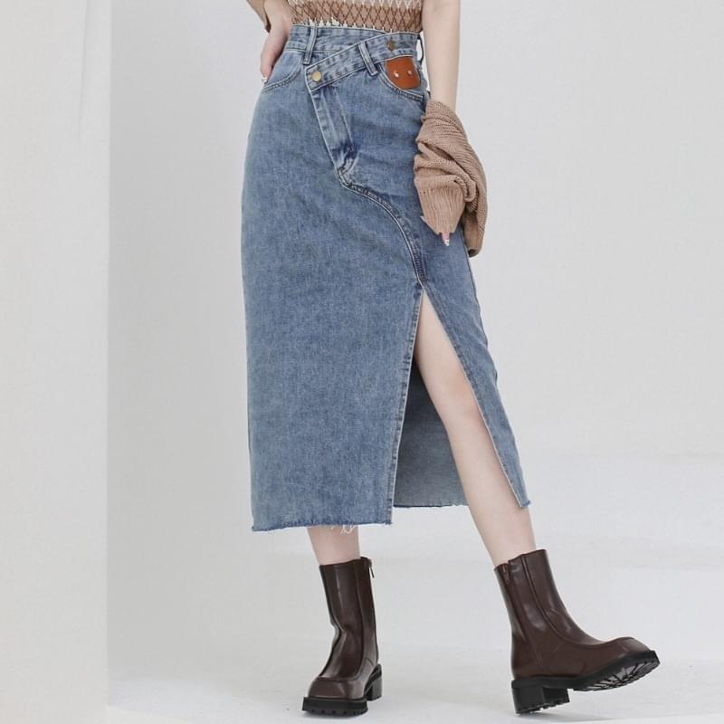 Crew Unvale Denim Long Skirt