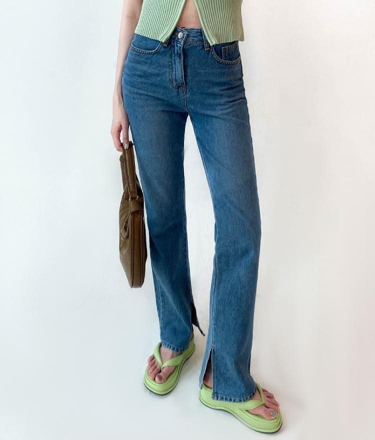 slit slim long pants