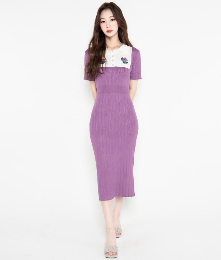 Flower Accent Purple Knit Dress