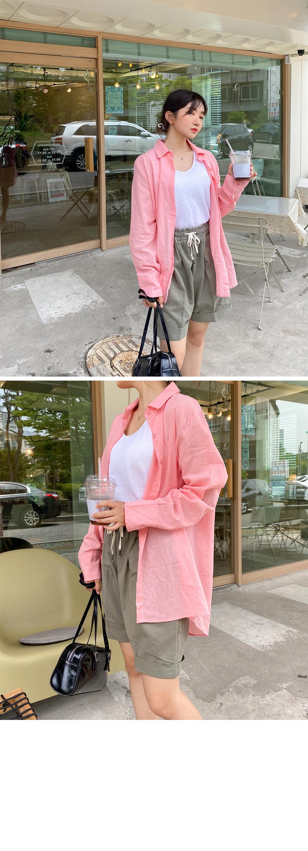 Big Size 66-120 Better Linen Color Basic Shirt