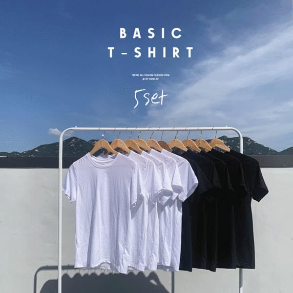 Four Seasons Basic Layered Basic Short Sleeve T-shirt Black & White