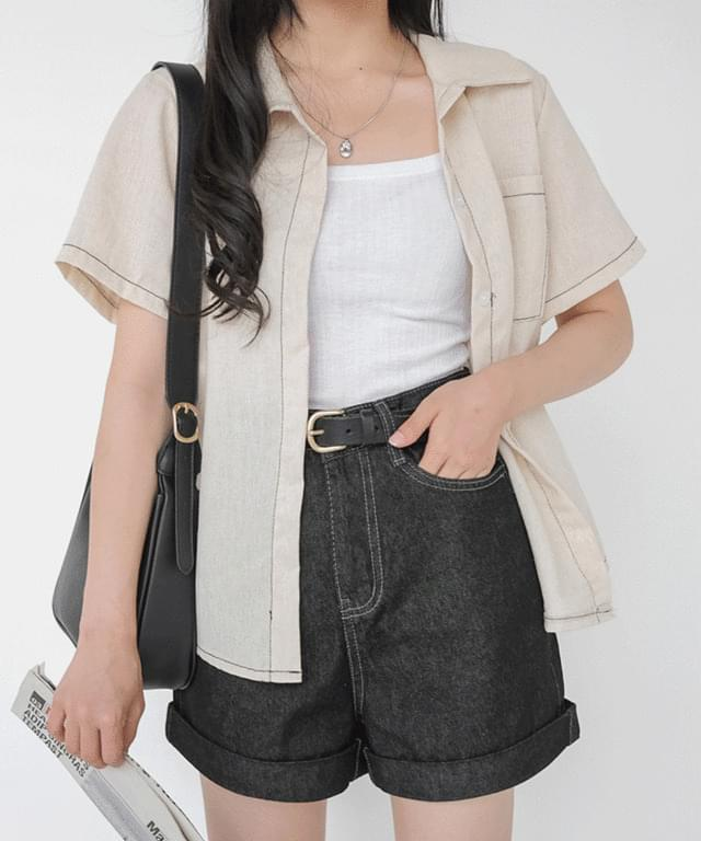 Big 55-88 Stitched Cotton Short Sleeve Shirt