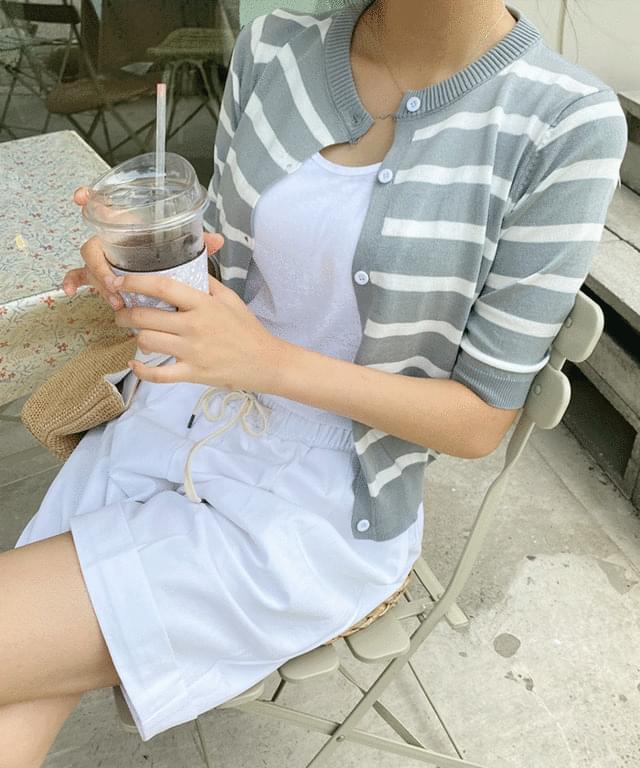 french stripe short sleeve cardigan