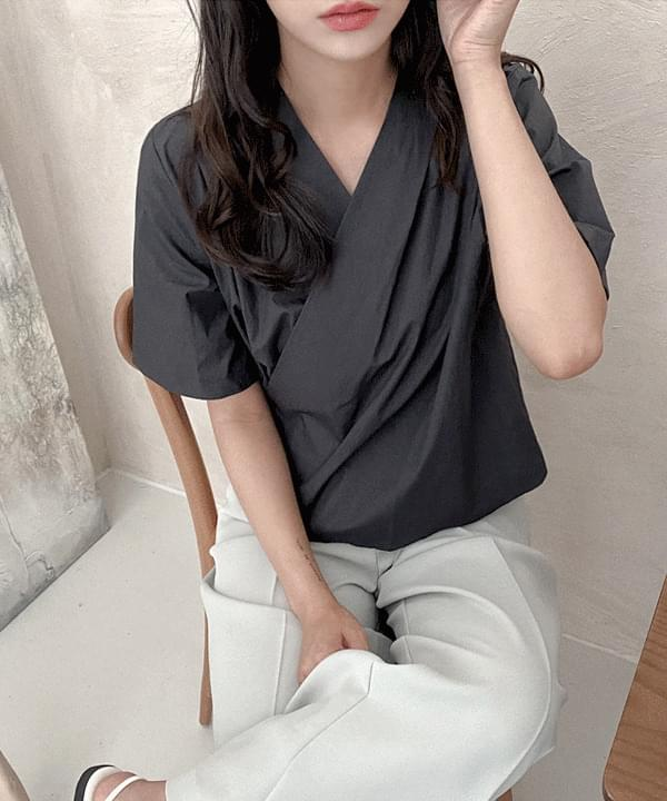 Permitted cotton wrap blouse