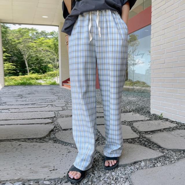 Lisa Check Wide Banding Pants 長褲