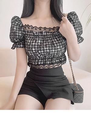 Ansan check lace blouse