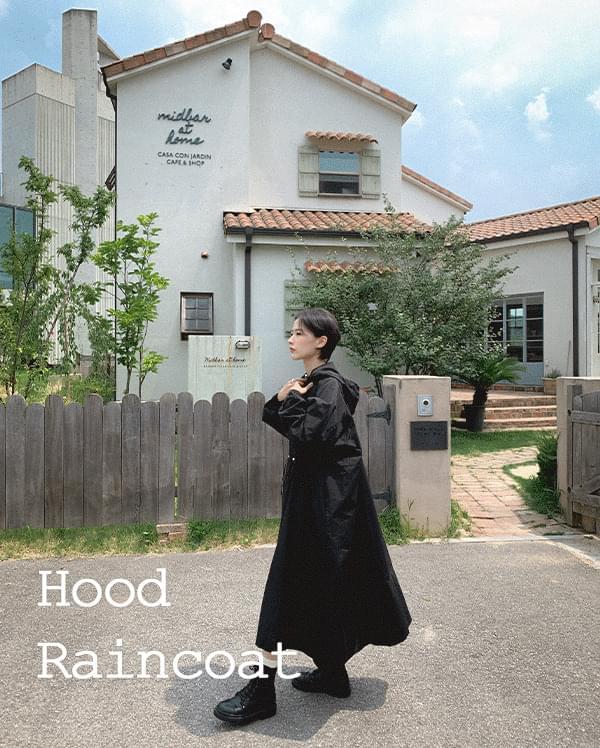 #made some maxi string rain hooded coat 大衣