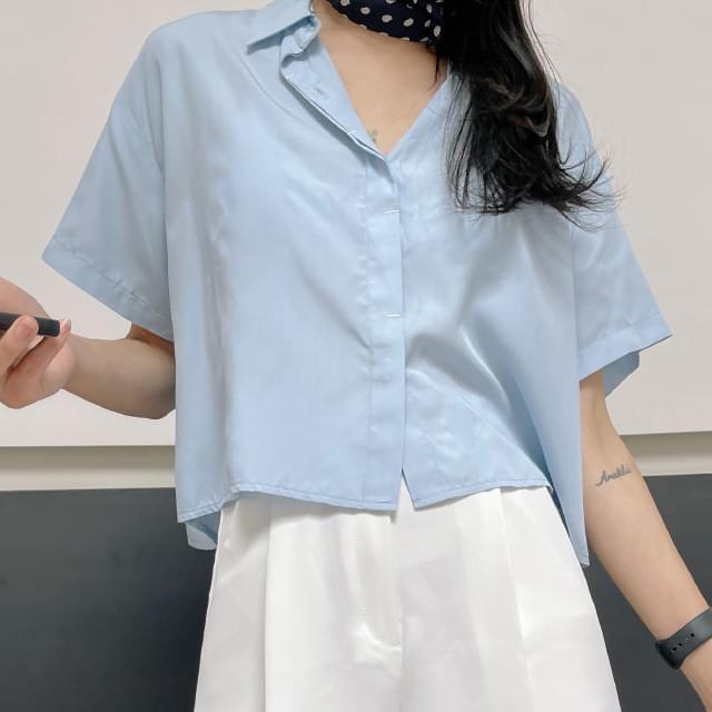 melee stitch short sleeve blouse