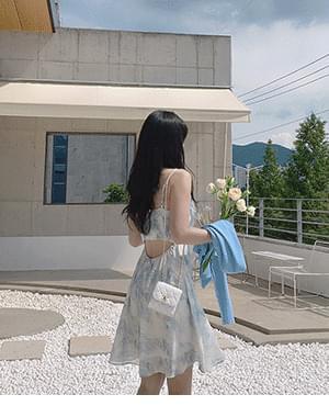 Yogurt Flower Split Sleeveless Dress