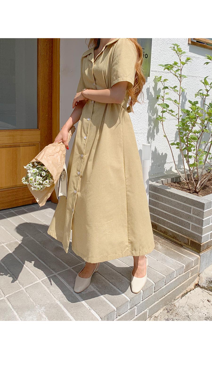 Planetzan Check Collar Neck Long Dress