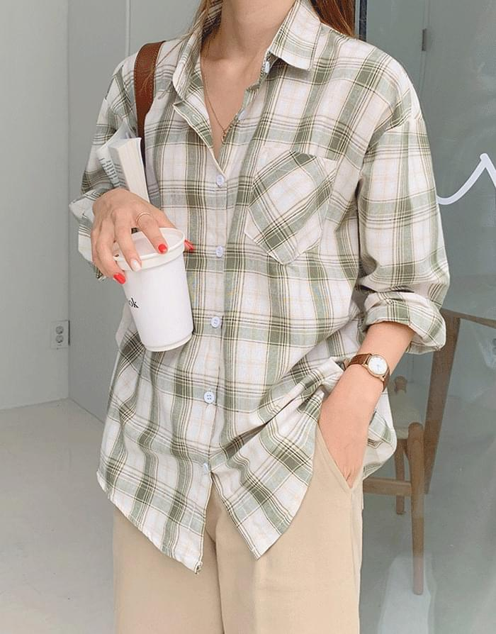 Comma Check Over Fit Shirt Shirt