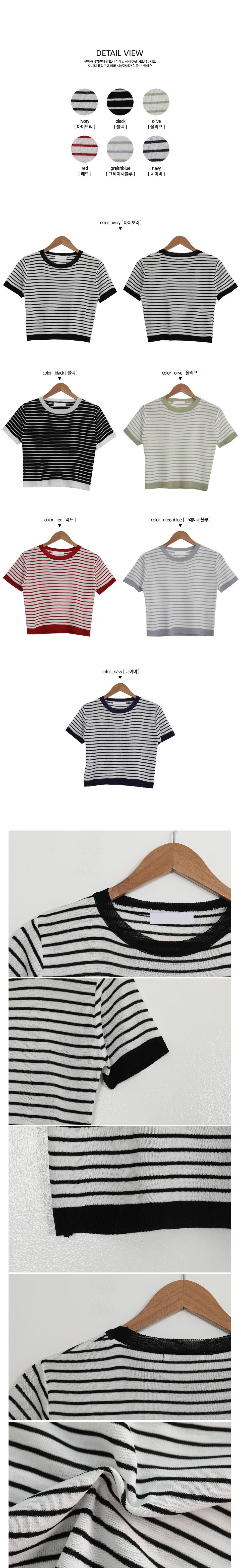 Marine Striped Short Sleeve Knitwear