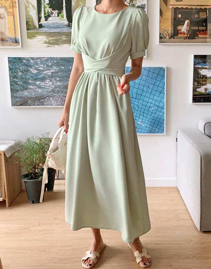 Forming cross strap long Dress