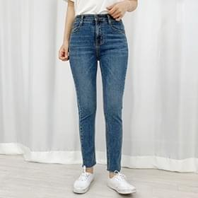 Straight cut slim denim trousers