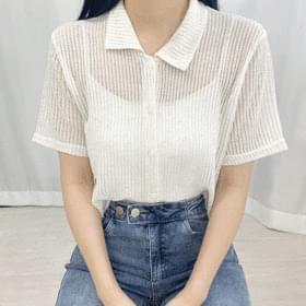 Linen See-through Button Collar Short Sleeve Tee