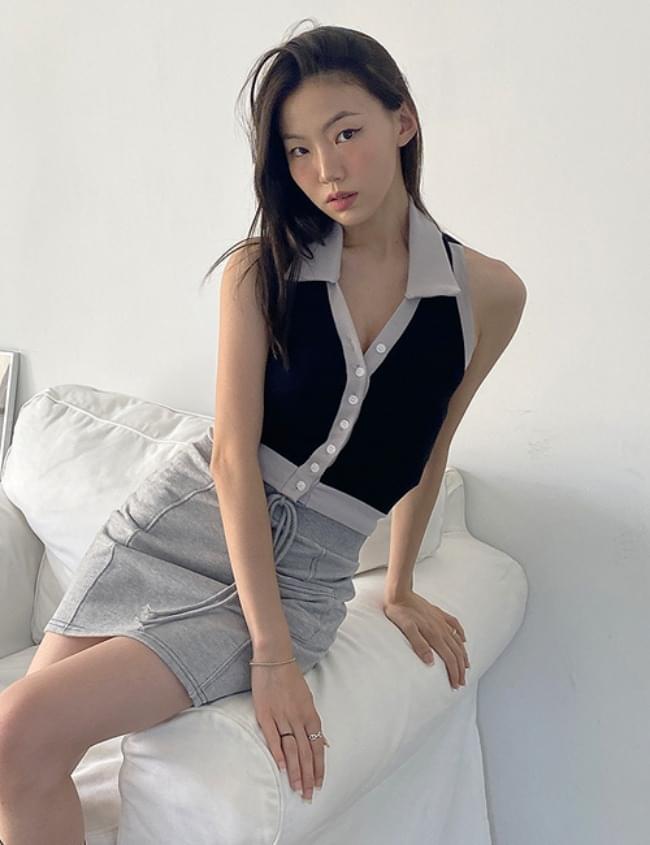 color matching collar sleeveless