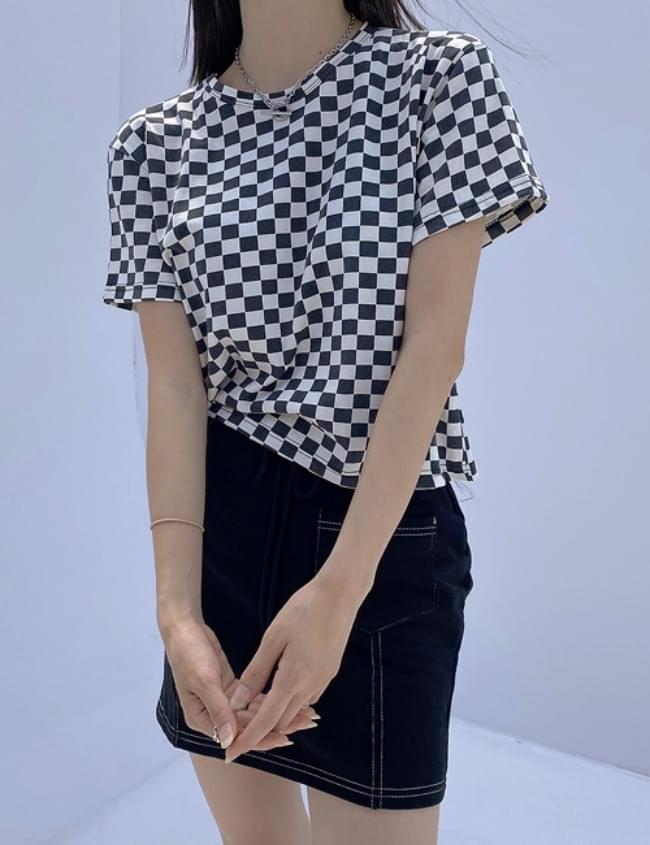 Checkerboard Half Crop T-shirt