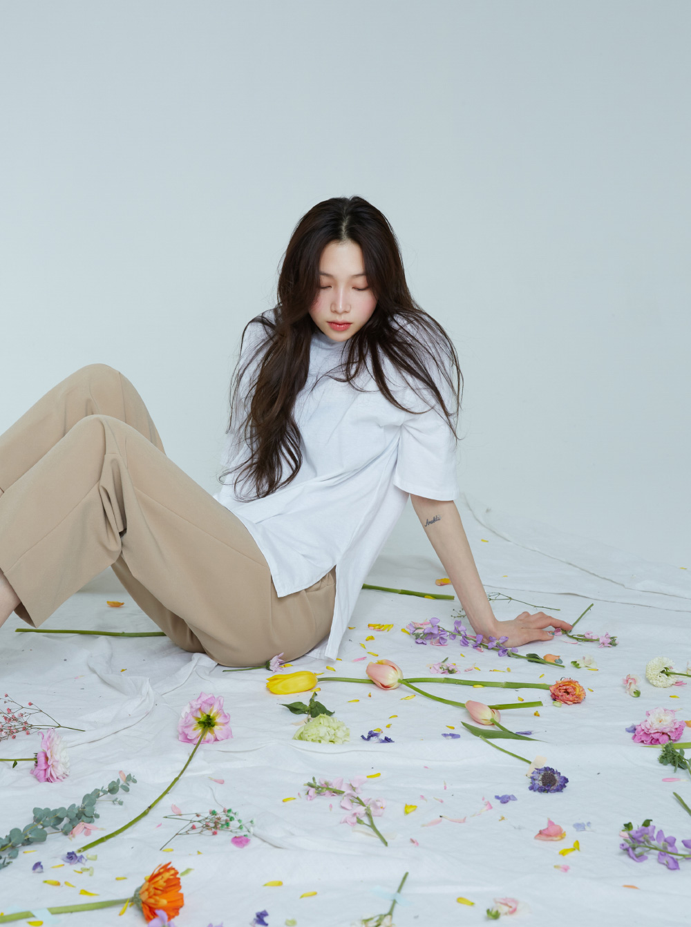 And Loose-fit Slit Cotton Tea