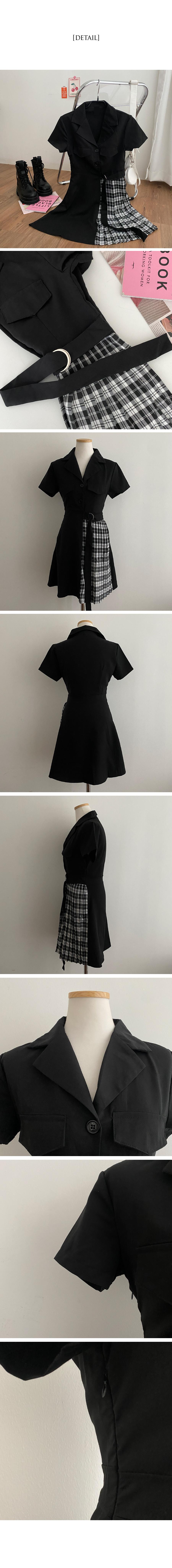 Derella Half Check Belt Dress