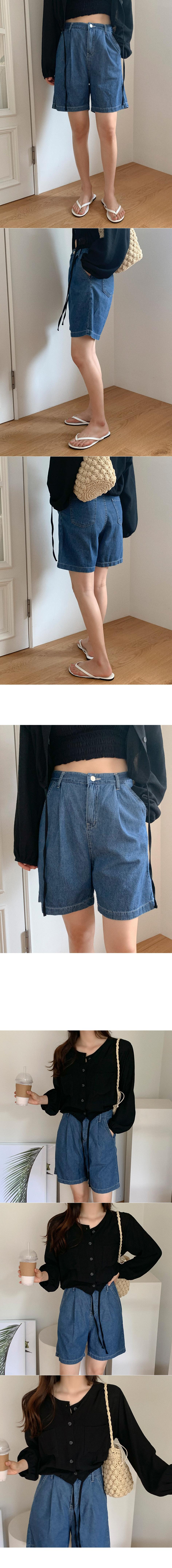 Nibbled Denim Half Pants