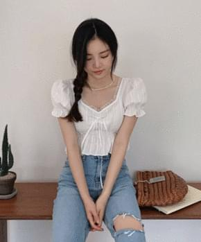 lacquer shirring blouse