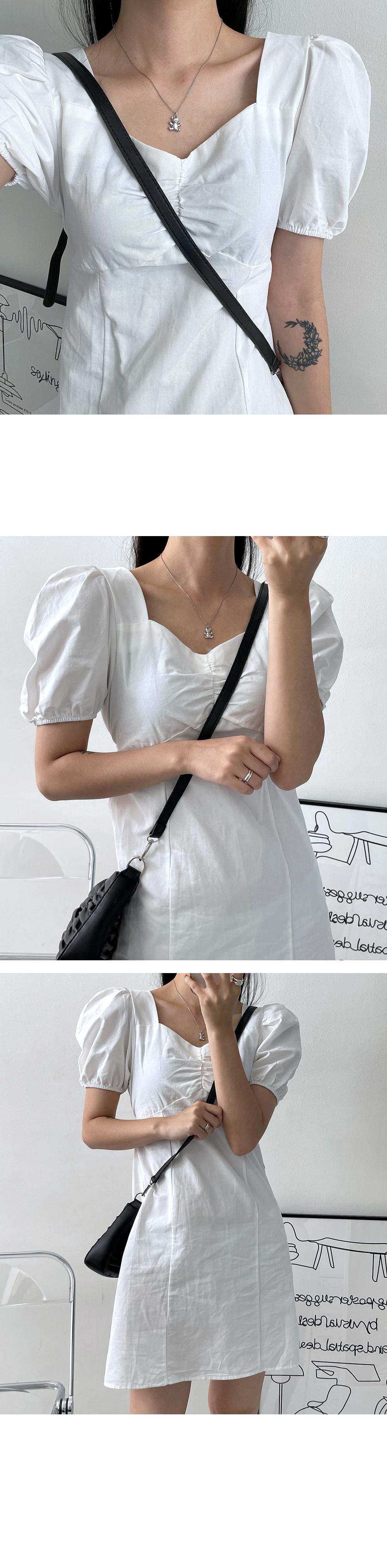 Shirring Cotton Short Sleeve Mini Dress
