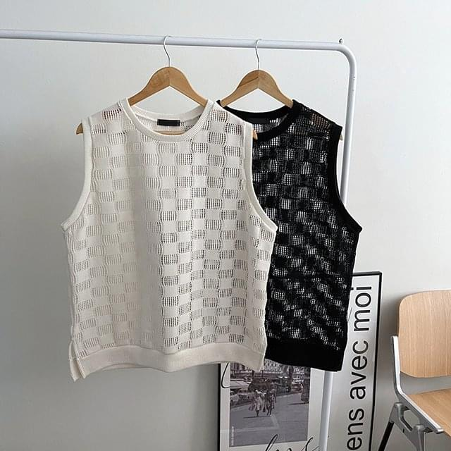 Checker-Through Knitwear Vest 針織外套