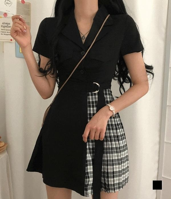 Derella Half Check Belt Dress 迷你短洋裝
