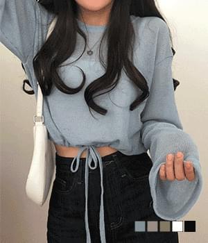 Truffle Linen String Crop Knitwear T-Shirt